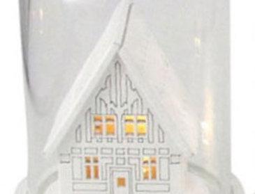 Glas kuppel med led jule dekoration