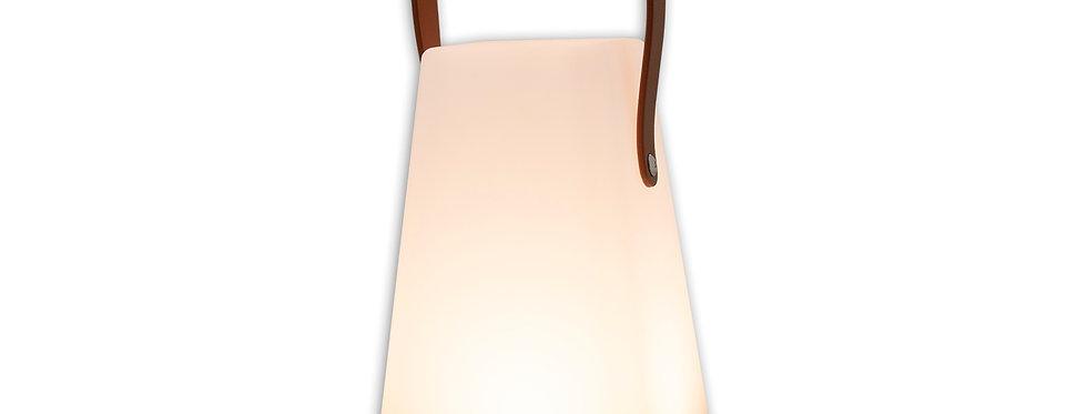 Led lampe med firkantet fod og læder håndtag