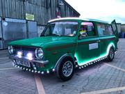 Bil med lysshow på batteri