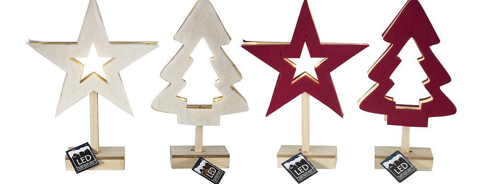 Filt juletræ eller stjerne med led lys