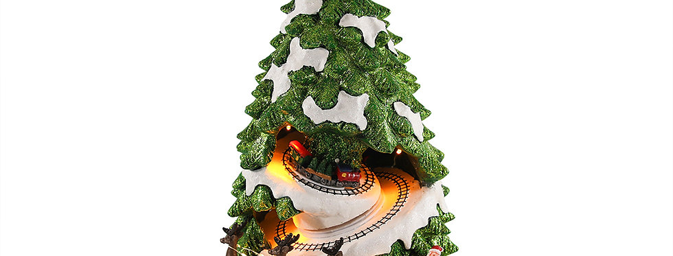 Stort juletræ med bevægelse, lys og musik