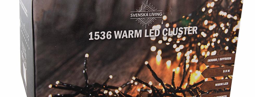 Mega klynge lyskæde 1536 led med timer og dimmer