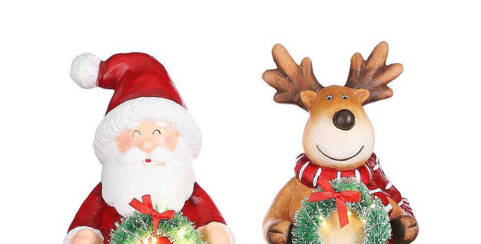 Julemand eller rensdyr med led julekrans