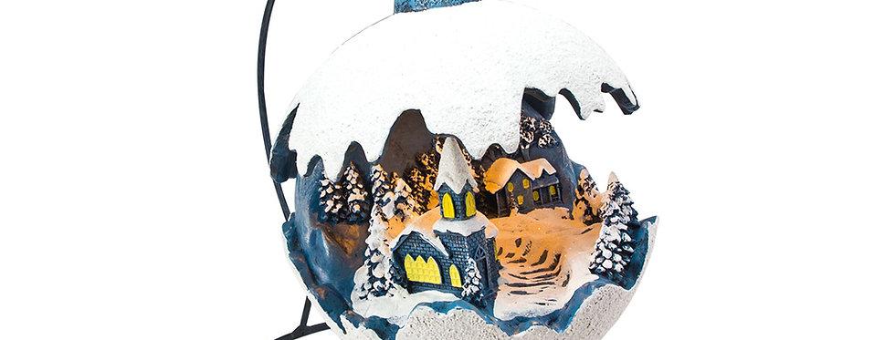 Hængende sne kugle med landskab og lys