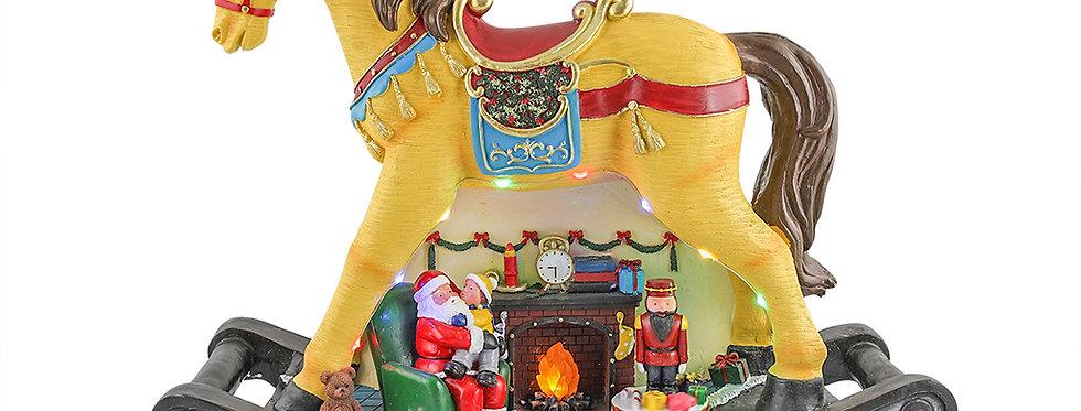 Kæmpe gynge hest med jule scene under