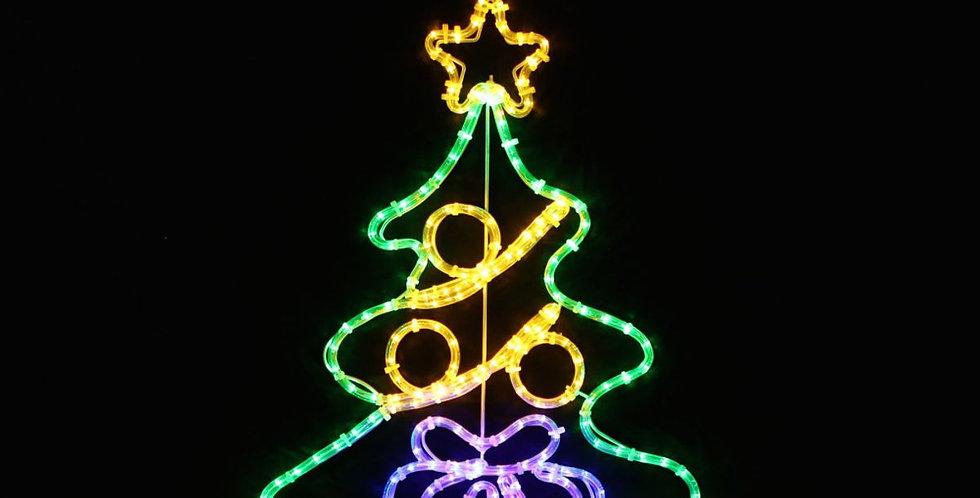 Juletræ med kugler og en julegave