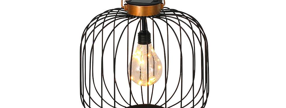 Bronze/sort stål lanterne med indbygget solcelle