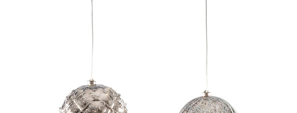 Mega led sølv jule kugle 20cm