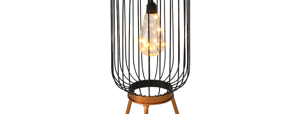 Bronze/sort stål solcelle lanterne med fødder