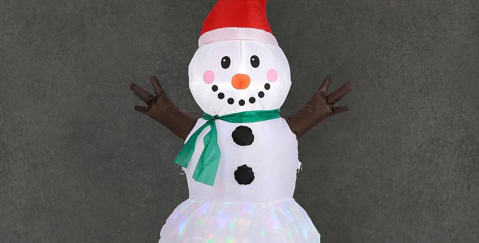 Oppustelig snemand med nissehue og led disko lys