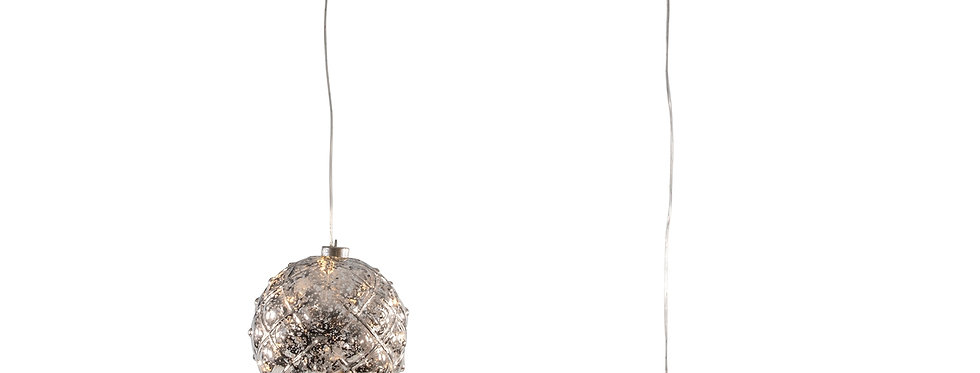 Led sølv jule kugle 15cm