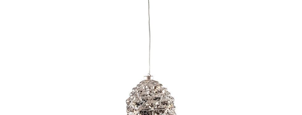 Led sølv jule kogle 28cm
