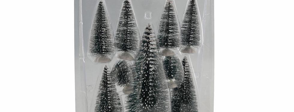 9 stk. Dekorations juletræer