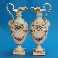 Worcester Pair of Ewers Attributed to G. Owen