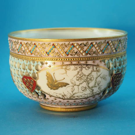 Worcester Reticulated Sugar Bowl Attributed to G. Owen