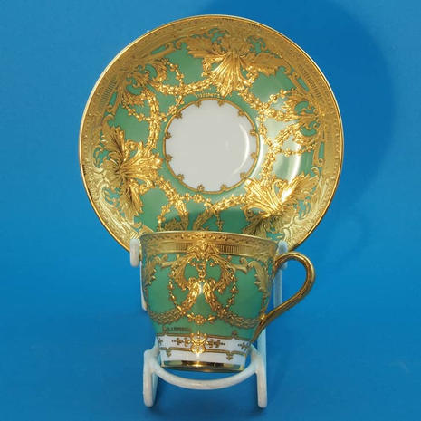 Minton Coffee Cup & Saucer Gilding Signed S.J. Russell