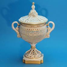 Worcester Reticulated Vase & Cover Signed G. Owen
