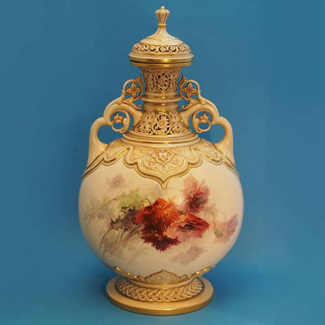 Persian Style Vase & Cover Signed E. Raby