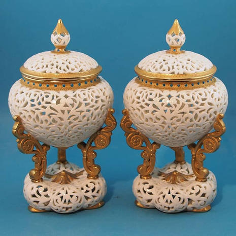 Pair of Reticulated Footed Pots