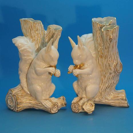 Pair of Squirrel Vases