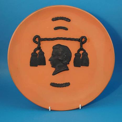 Plate Orange and Black Josia Wedgwood Commemorative Plate