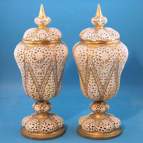 Pair of Reticulated Vases