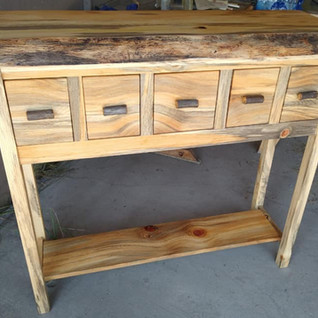 Five Drawer Hall Table with Shelf