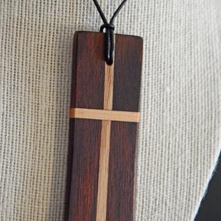 Maple and Walnut Cross Pendant