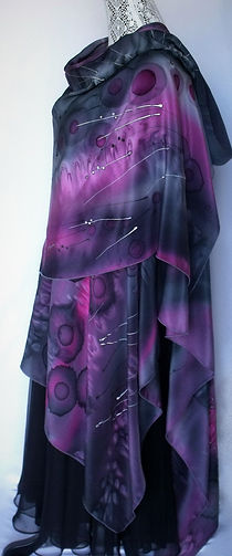 Hand painted silk ruana wrap