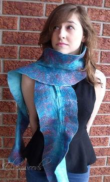 Turquoise nuno felted silk/wool ruffle scarf