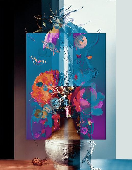Geometric Flowers one - MetallicRoyale