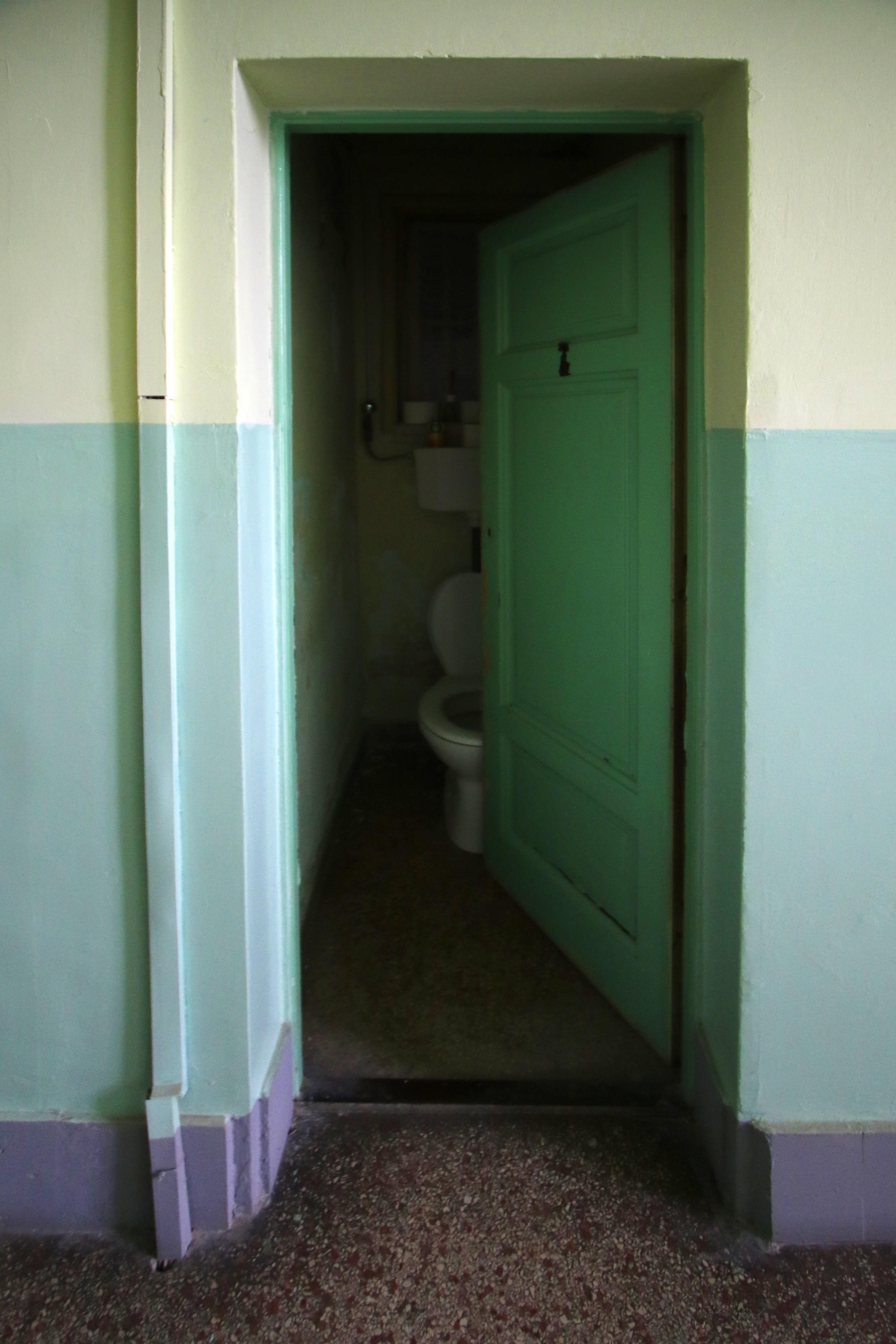 Ganz-MÁVAG kolónia, XVII. sz. ház lépcsőházának egy lépcsőház felé nyíló WC-je.