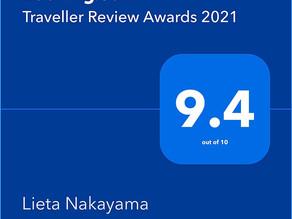 Booking.com Traveller Review Awards 2021にて9.4という評価を頂きました。コンドミニアムホテルナゴリゾート リエッタ中山スタッフ一同感謝を申し上げます。