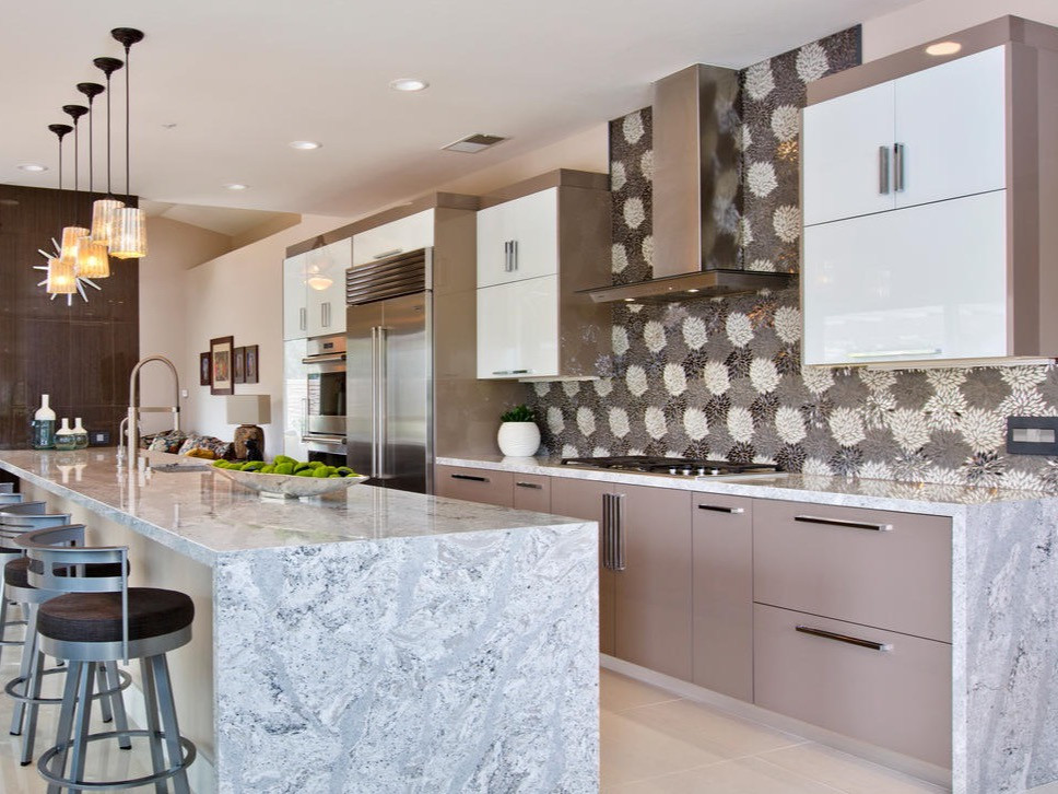 Kitchen with bold tiling and Ovation cabinets