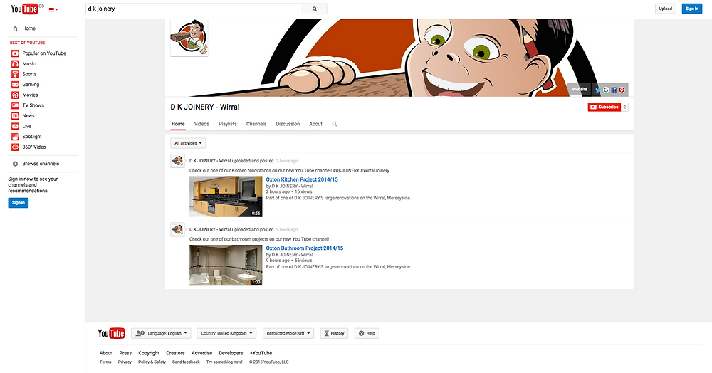 Our new 'YouTube' Channel - D K JOINERY | Wirral
