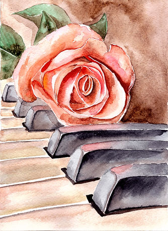 Rose on the piano. Watercolor flower..jp