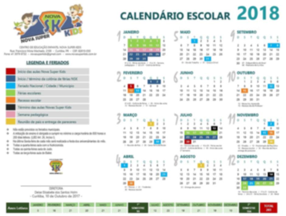 Calendário Escola 2017 - Nova Super Kids | Curitiba-PR
