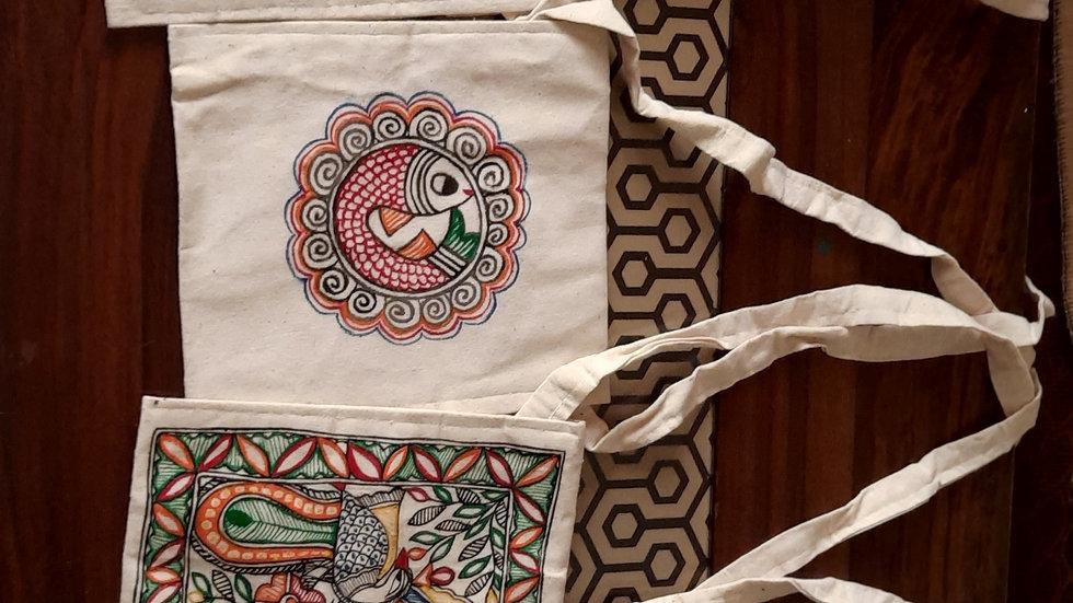 Madhubani Simple Sling Bag(Handpainted)