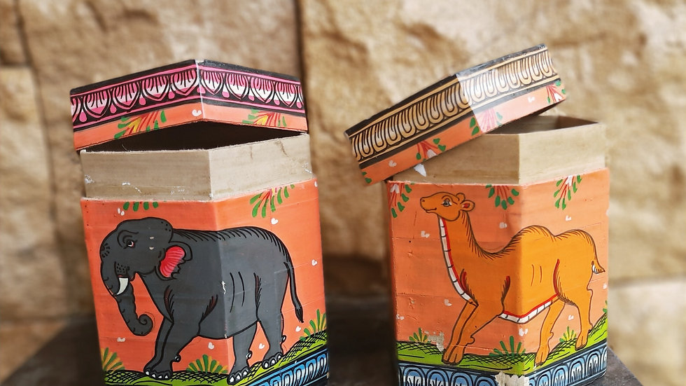 Palm Leaf Box with Pattachitra Painting