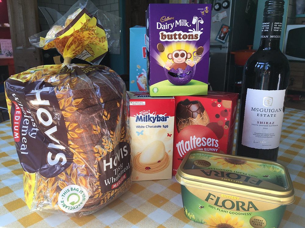 Bread, butter, Easter eggs, wine