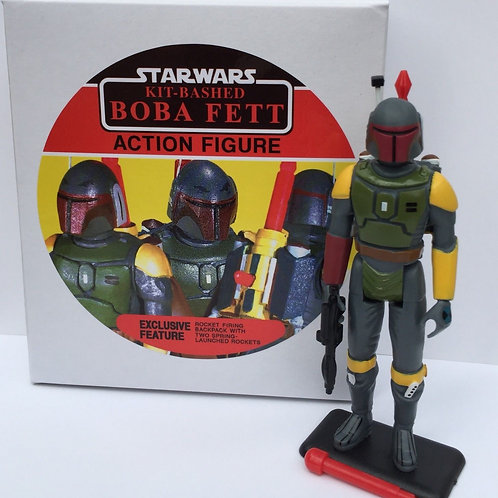 Custom Vintage Kit Bashed Rocket Firing Boba Fett + Display Box & Figure Stand