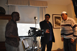 DP Lamont Burrell Producer Director Frazier Prince and Rahaman Ali on set of New Muhammad Ali Featur
