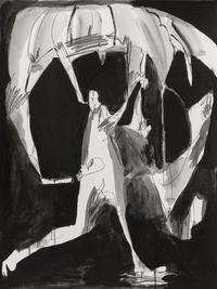 Parachutist, 2020, Acrylic and graphite on paper, 48x36 cm