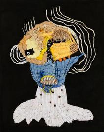 Lady G,  2019, Needlework on fabric, 50x40 cm