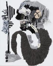 Caveman, 2018, Needlework on fabric, 50x40 cm