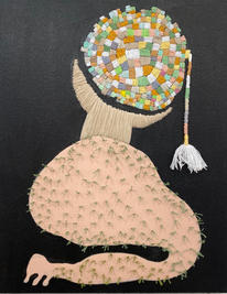 Untitled,  2019, Needlework on fabric, 50x40 cm
