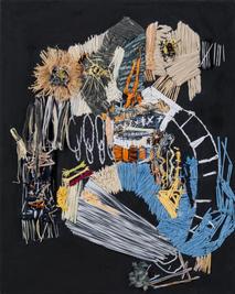 The scientist, 2018, Needlework on fabric, 50x40 cm
