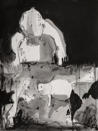 Aquarium II, 2020, Acrylic and graphite on paper, 48x36 cm