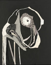 A stork, 2018, Needlework on fabric, 50x40 cm