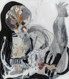 Figure III, 2020, mixed media on canvas, 90x80 cm